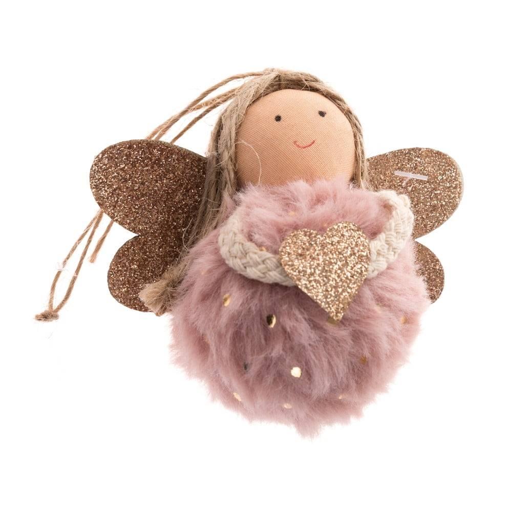 Dakls Ružová textilná závesná ozdoba v tvare anjela Dakls, dĺžka 9 cm