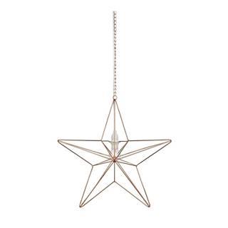 Závesná svietiaca dekorácia v medenej farbe Markslöjd Tjusa Star Copper, ø 42cm