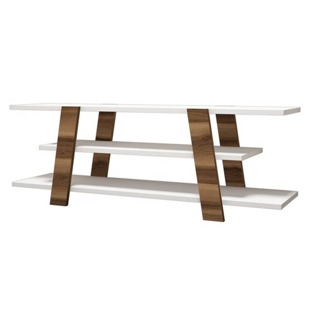 Sconto TV stolík FLOWER orech/biela