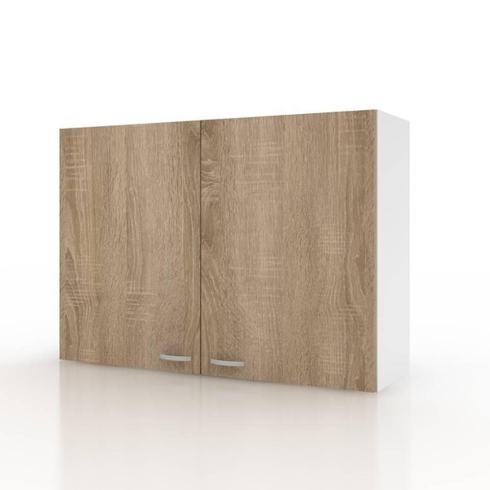 Sconto Závesná horná skrinka POLAR II dub sonoma/biela, 100 cm