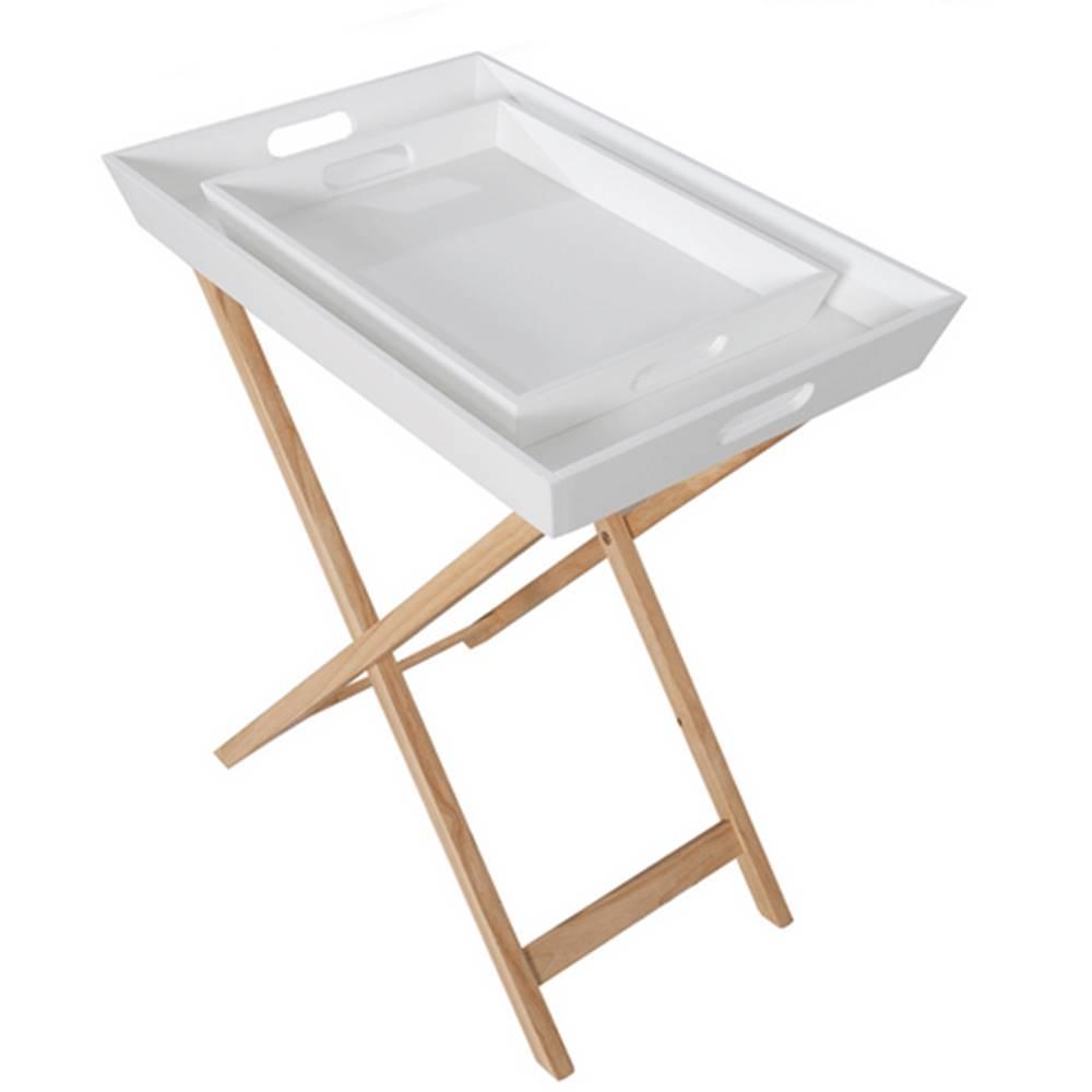 Tempo Kondela Servírovací stolík s dvomi snímateľnými táckami biela/prírodná NORGE