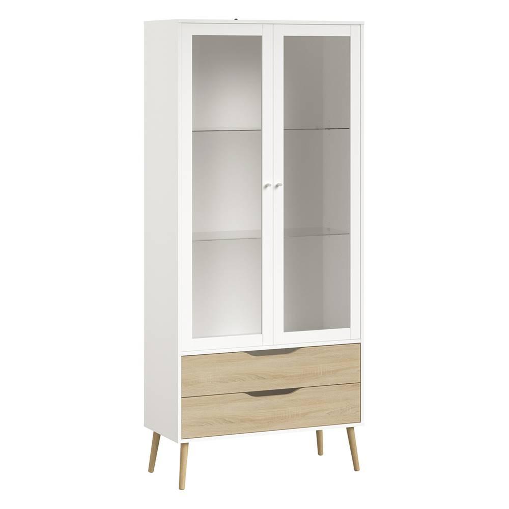 IDEA Nábytok Vitrína 2 zásuvky + 2 dvere NORSK dub/biela