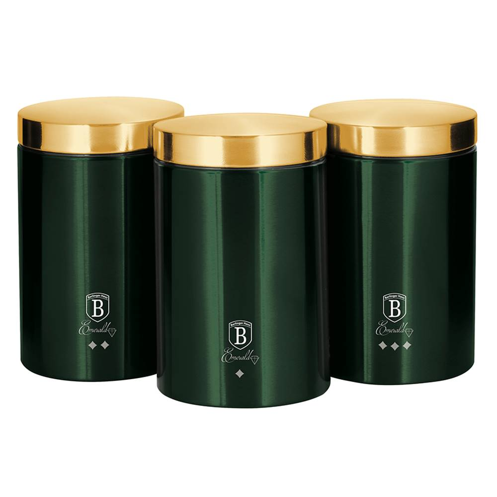 Tempo Kondela Sada dóz na potraviny 3ks metalická zelená Emerald BERLINGERHAUS BH-6272