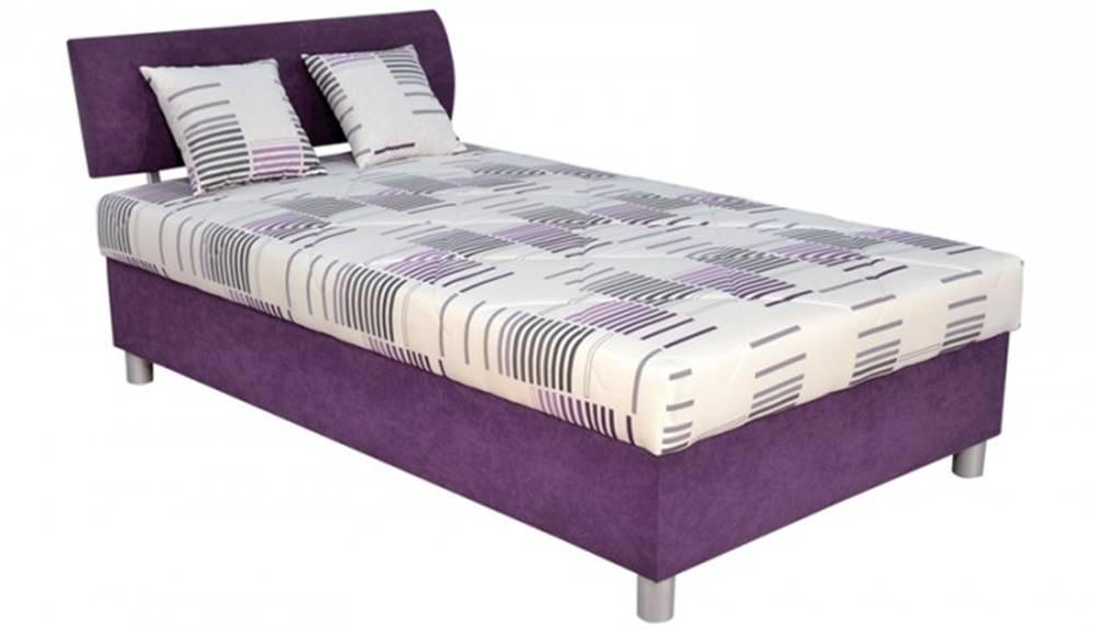 OKAY nábytok Čalúnená posteľ George 120x200, fialová, vrátane matraca a úp