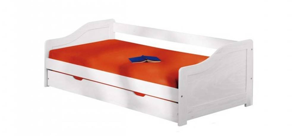 OKAY nábytok Posteľ Lucie 90x200, biela, vrátane roštu, bez matracov