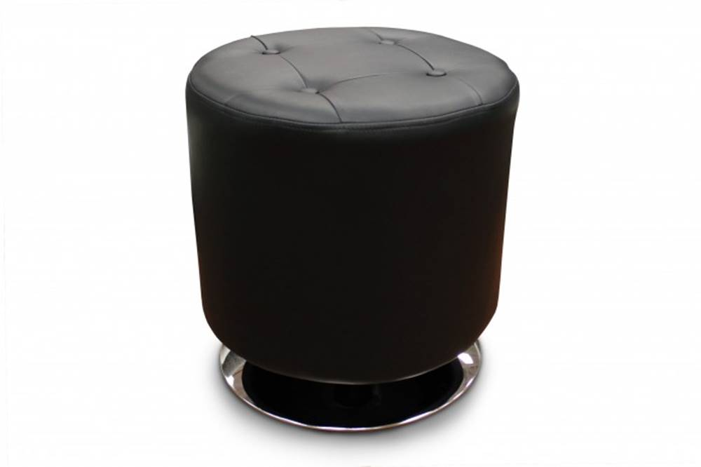 OKAY nábytok Kožená taburetka Dora kruh čierna
