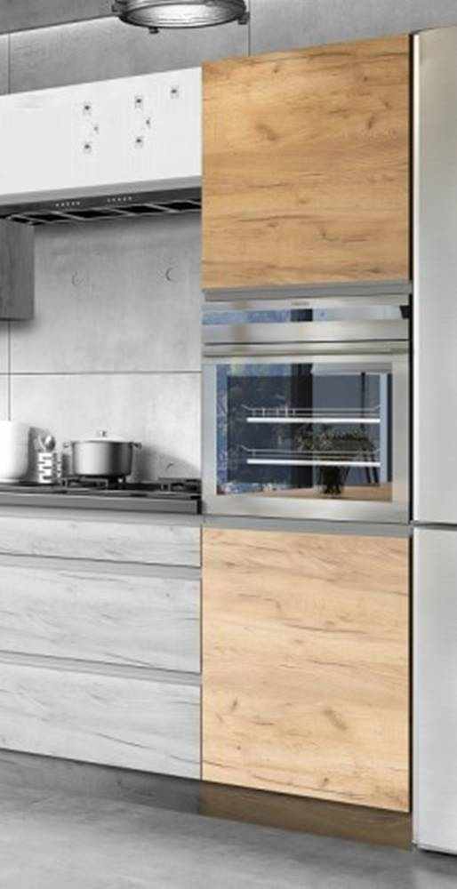 OKAY nábytok Vysoká skrinka na vstavanú rúru ku kuchyni Brick light