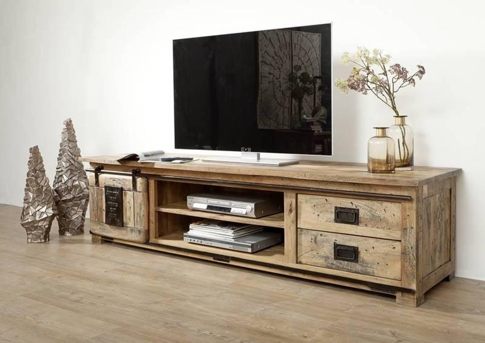 Bighome.sk IRON III. TV stolík 200x50 cm, mango, prírodná