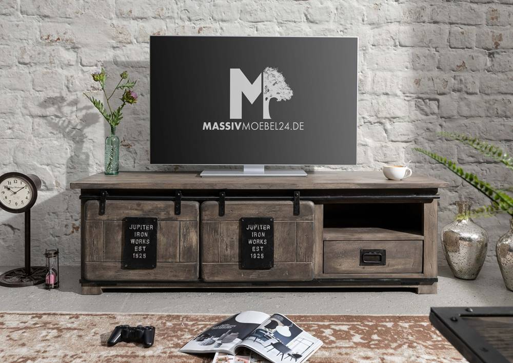 Bighome.sk IRON TV stolík 160x55 cm, mango, sivá