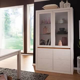 ALBURY Vitrína 110x190, borovica, biela