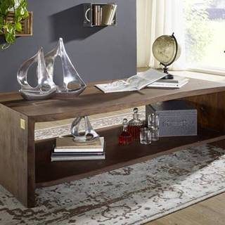 WOODLAND Konferenčný stolík s policou 150x70 cm, tmavohnedá, akácia