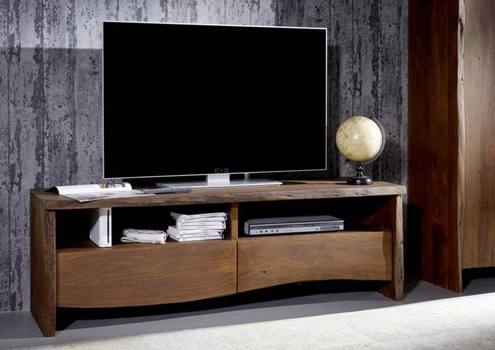 Bighome.sk WOODLAND TV stolík 151x50 cm, tmavohnedá, akácia