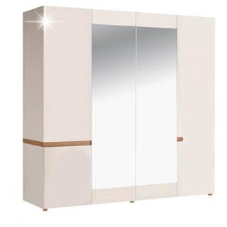 Lynatet 23 šatníková skriňa so zrkadlom biela