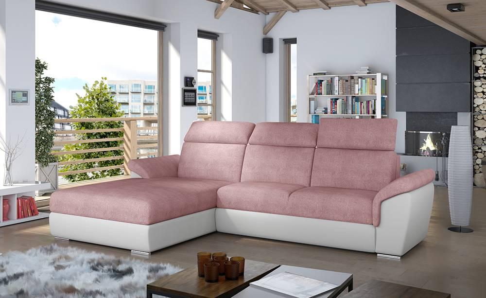 NABBI Tarragon L rohová sedačka s rozkladom a úložným priestorom ružová