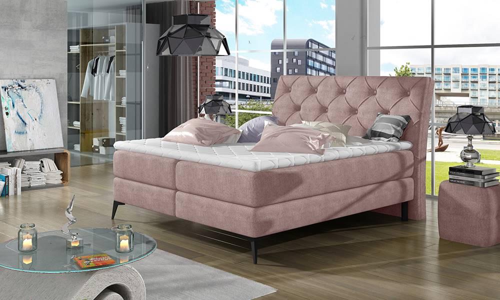 NABBI Lazio 160 čalúnená manželská posteľ s úložným priestorom ružová (Omega 91)