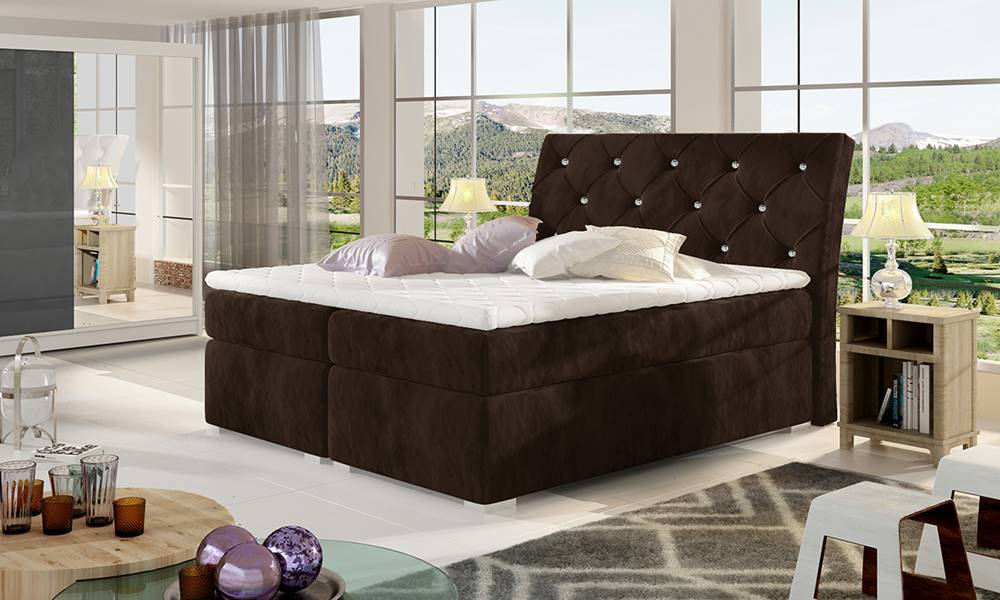 NABBI Beneto 160 čalúnená manželská posteľ s úložným priestorom tmavohnedá