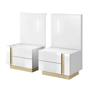 City nočný stolík (2 ks) s osvetlením biela