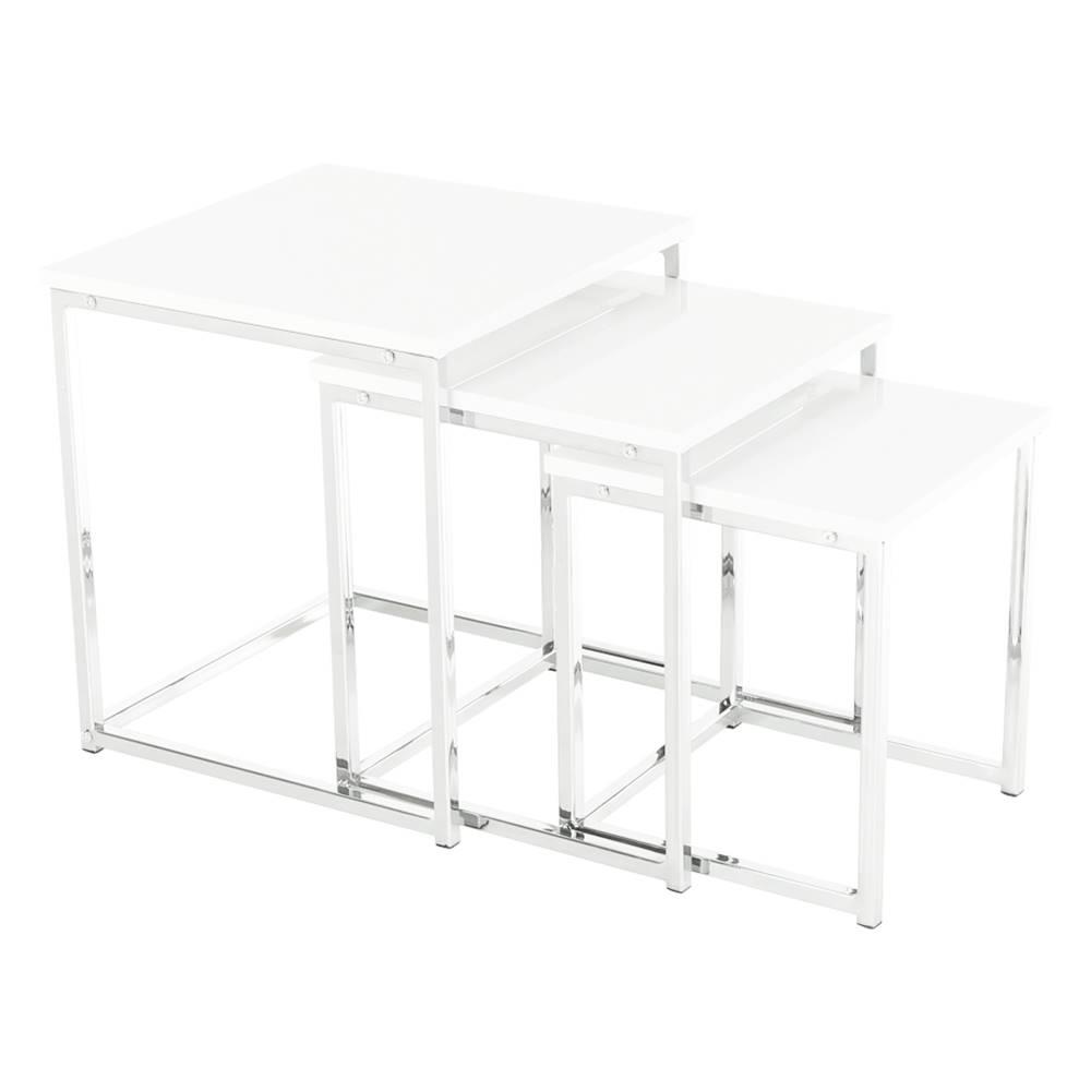Tempo Kondela Enisol Typ 3 konferenčný stolík (3 ks) biely vysoký lesk