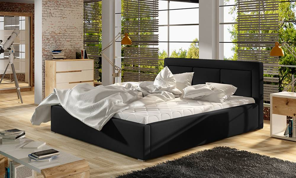NABBI Branco UP 160 čalúnená manželská posteľ s roštom čierna