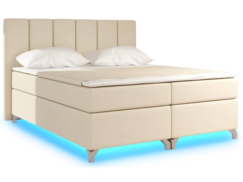 NABBI Barino 140 čalúnená manželská posteľ s úložným priestorom béžová (Soft 33)