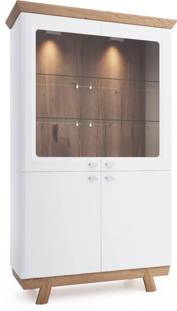 TARANKO Aspen AS-W2 vitrína biely vysoký lesk