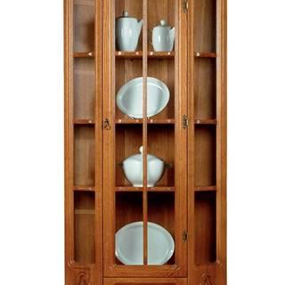 Kinga rustikálna rohová vitrína drevo D3