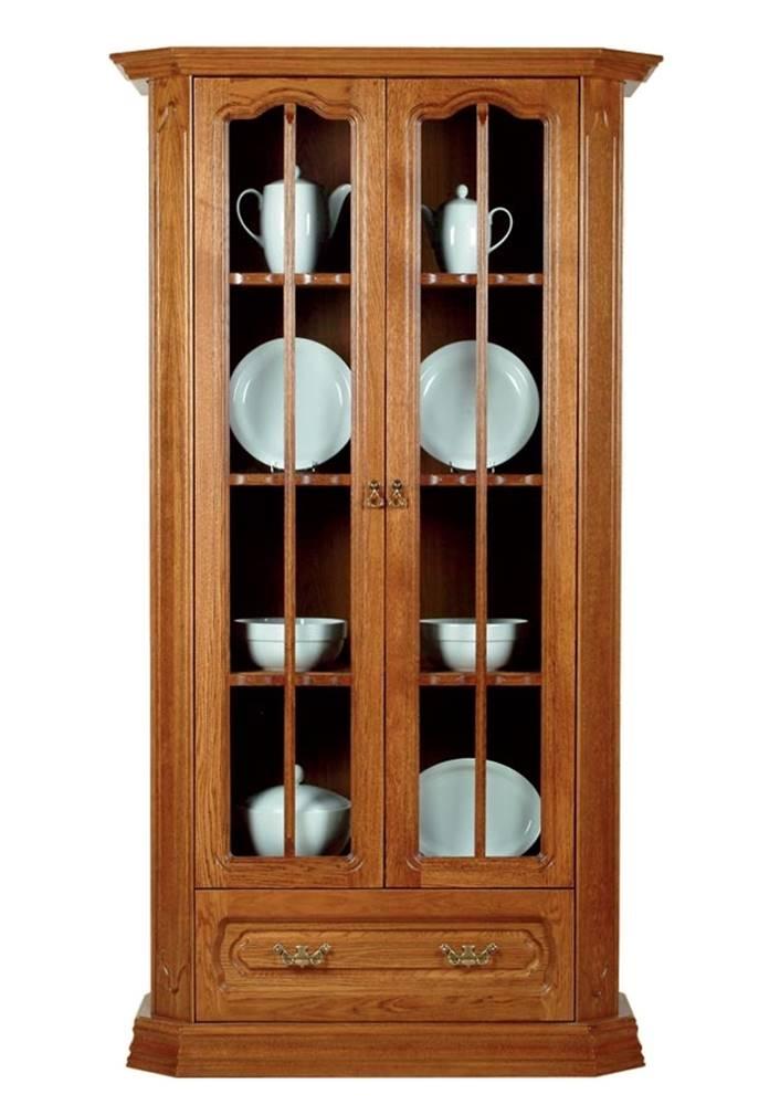 Pyka Kinga rustikálna dvojdverová vitrína drevo D3