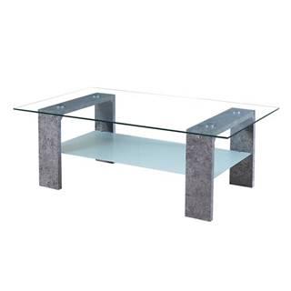 Belton sklenený konferenčný stolík betón