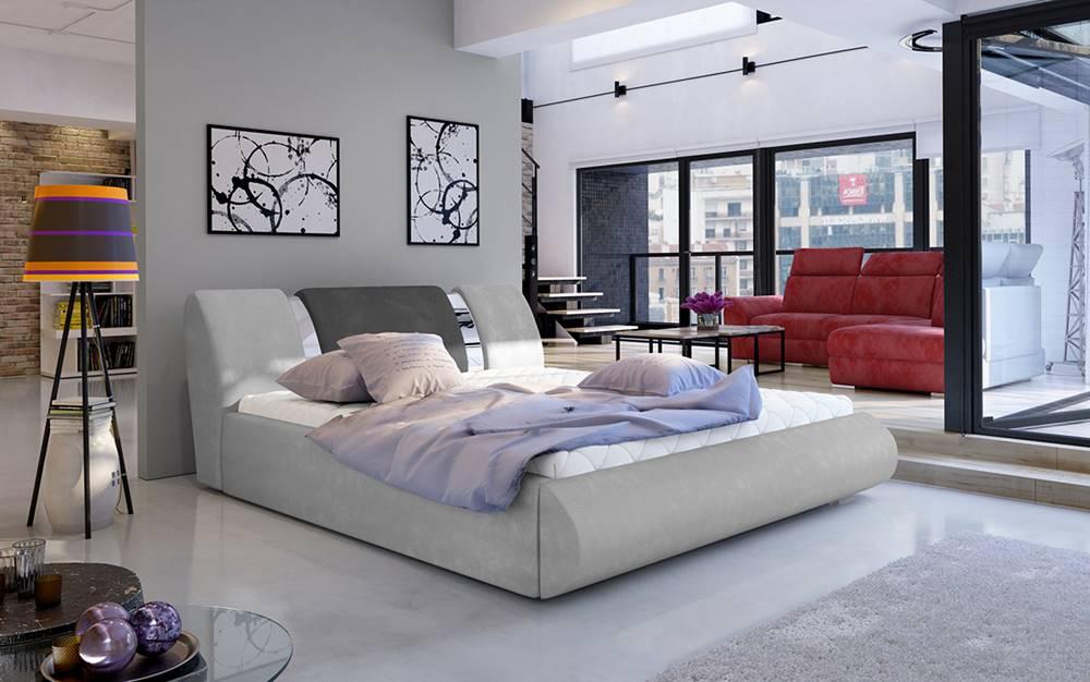 NABBI Folino 140 čalúnená manželská posteľ s roštom svetlosivá