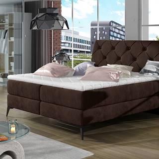 Lazio 180 čalúnená manželská posteľ s úložným priestorom tmavohnedá
