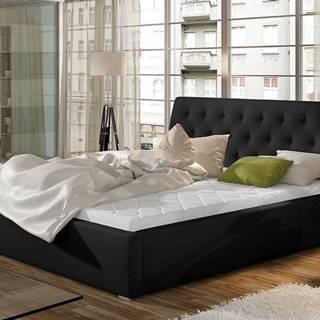 Monzo 180 čalúnená manželská posteľ s roštom čierna