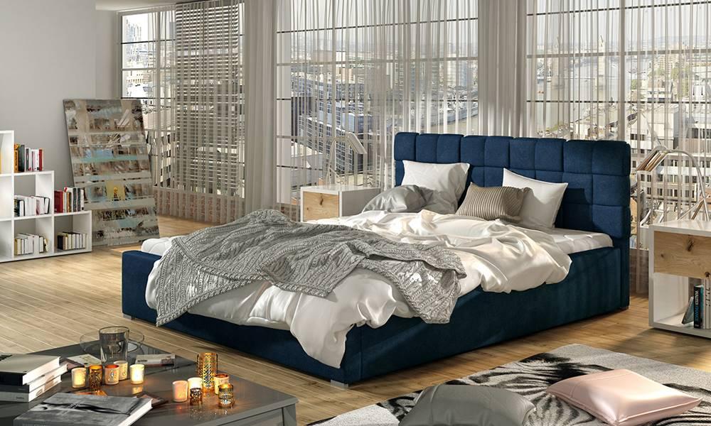 NABBI Galimo 140 čalúnená manželská posteľ s roštom tmavomodrá
