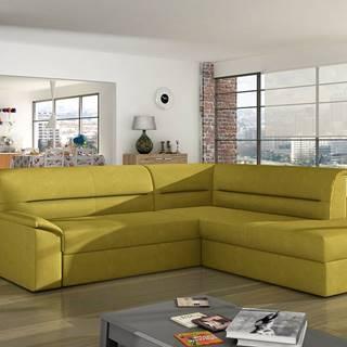 Estrela P rohová sedačka s rozkladom a úložným priestorom žltá