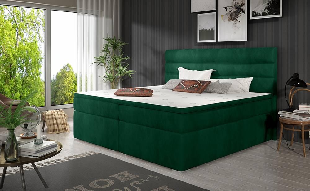 NABBI Spezia 160 čalúnená manželská posteľ s úložným priestorom tmavozelená