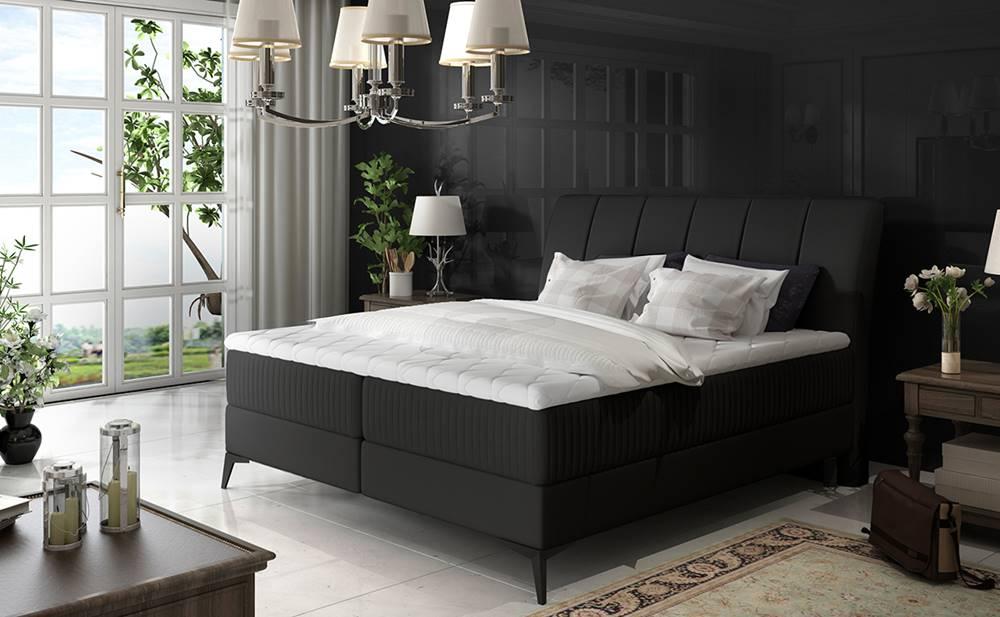 NABBI Altama 160 čalúnená manželská posteľ s úložným priestorom čierna (Soft 11)