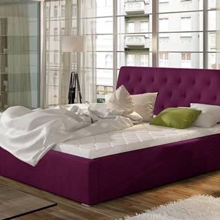 Monzo 140 čalúnená manželská posteľ s roštom vínová