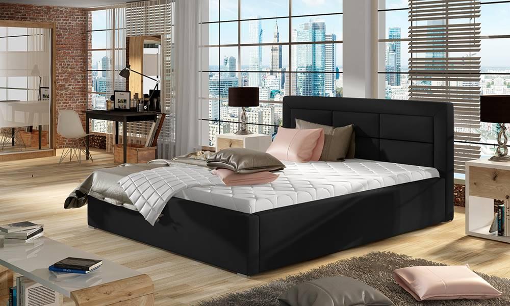 NABBI Rovigo 140 čalúnená manželská posteľ s roštom čierna