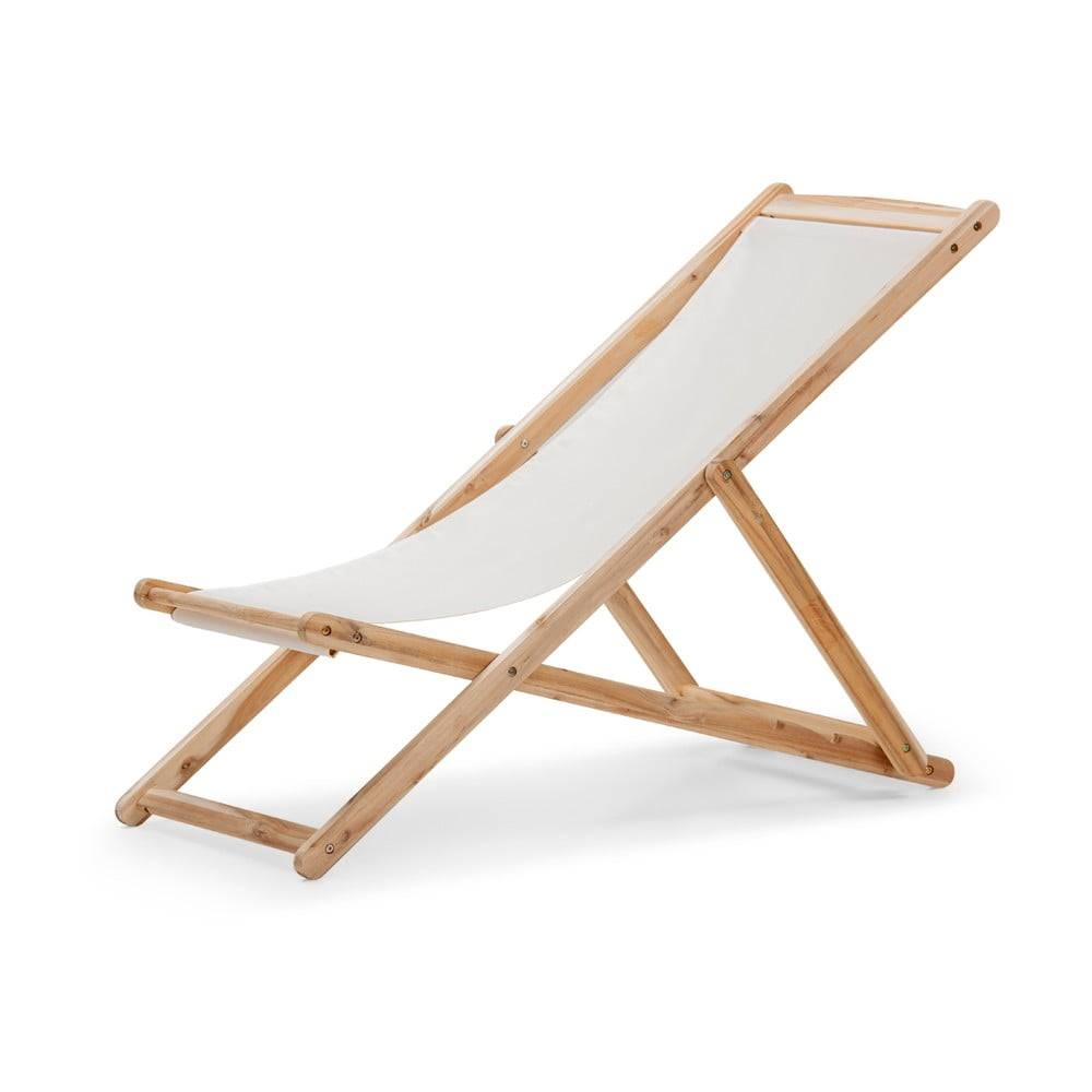 Le Bonom Béžové skladacie záhradné ležadlo z akáciového dreva Le Bonom Deck