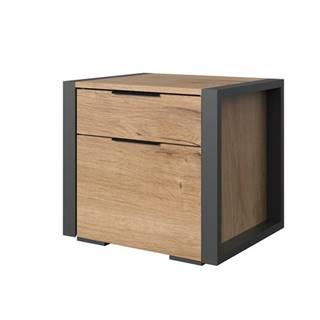 Nočný stolík NACHES doskový dub/grafit, 2 ks