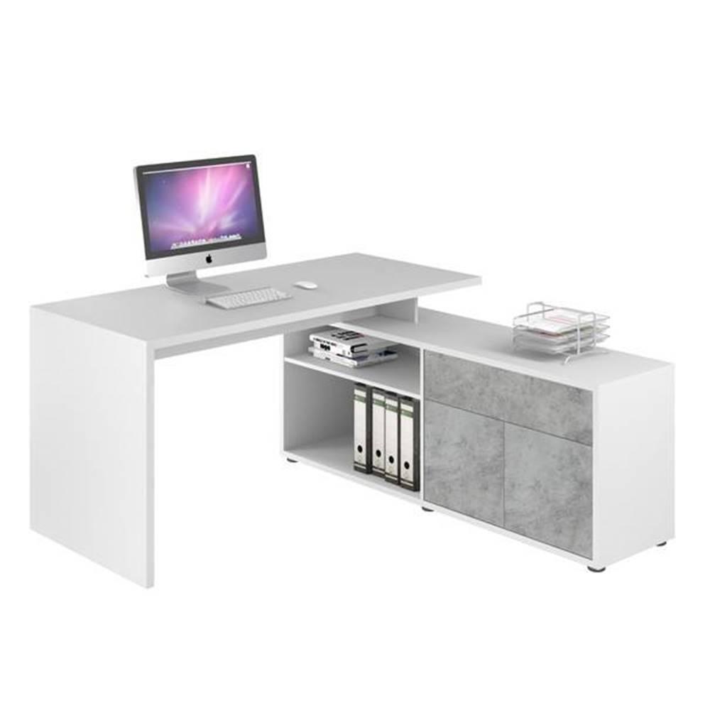 Sconto Rohový písací stôl ARLO biela/sivá