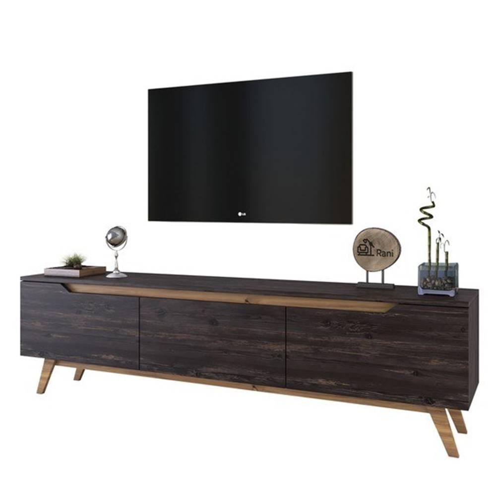 Sconto TV stolík QUINN tmavý orech