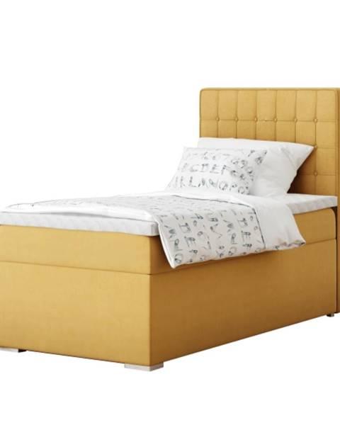 Žltá posteľ Tempo Kondela