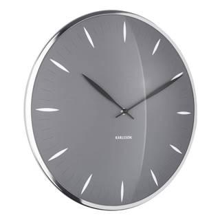 Sivé sklenené nástenné hodiny Karlsson Leaf, ø 40 cm