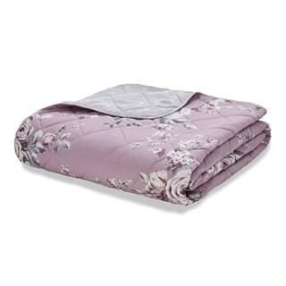 Ružovo-sivý prešívaný pléd cez posteľ Catherine Lansfield Canterbury, 220 x 230 cm