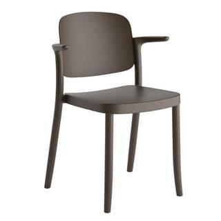 Plastová stolička s podrúčkami Plaza Hnedá