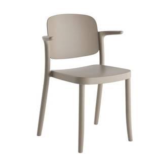 Plastová stolička s podrúčkami Plaza sivá