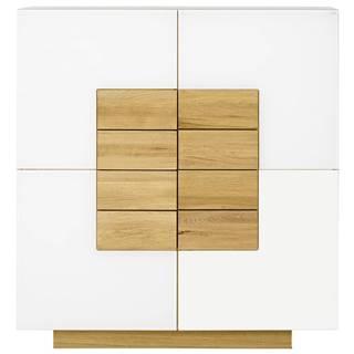 Voglauer KOMODA HIGHBOARD, divý dub, biela, farby dubu, 128/138/43 cm - biela, farby dubu