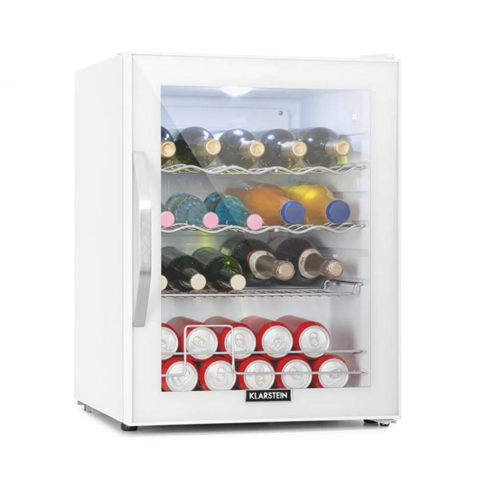 Klarstein Klarstein Beersafe XL Quartz, chladnička, A++, 60 l, LED, 2 kovové rošty, sklenené dvere, biela