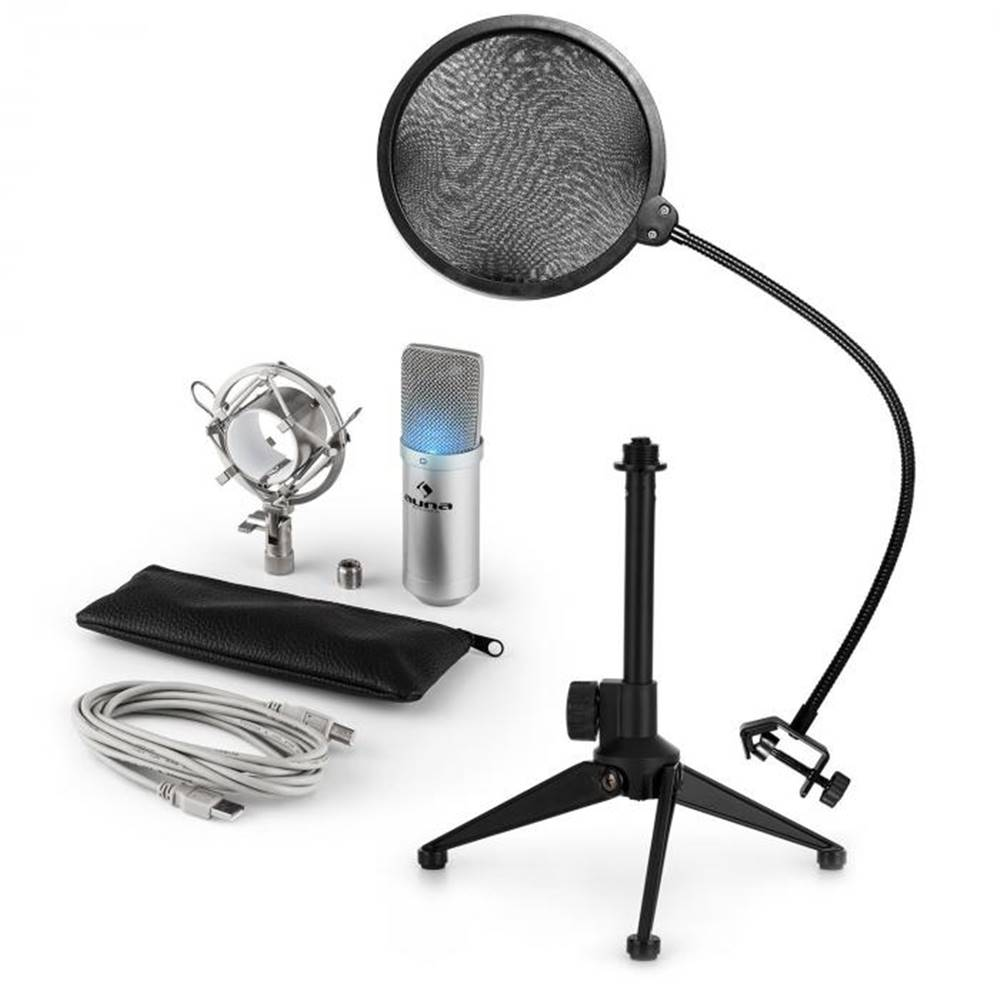 Auna Auna MIC-900S-LED V2, trojdielna USB mikrofónová sada, kondenzátorový mikrofón + pop-filter + stolný statív