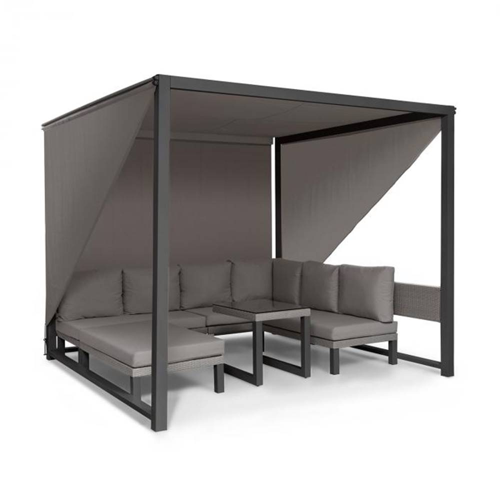 Blumfeldt Blumfeldt Havana, pavilón & Lounge-Set, 270x230x270cm, 4 dvojsedadlá, sivý